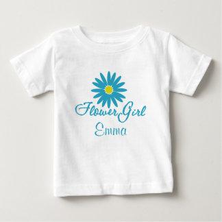 フラワー・ガールの青デイジー ベビーTシャツ