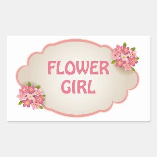 フラワー・ガール(ピンクの花柄) 長方形シール
