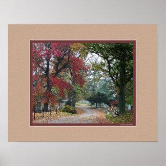 フランクフォートの墓地の秋の朝 ポスター
