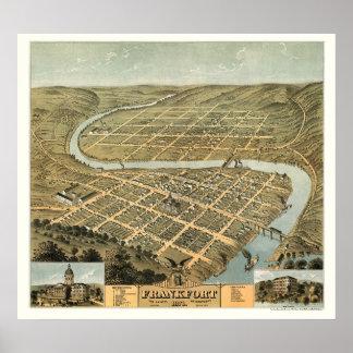 フランクフォート、KYのパノラマ式の地図- 1871年 ポスター