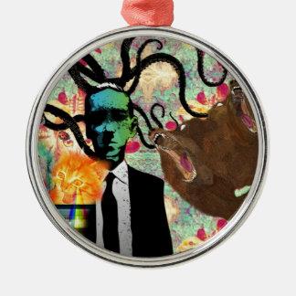 フランケンシュタインのトリップ(幻覚体験)のようなな芸術 シルバーカラー丸型オーナメント