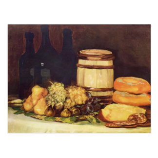 フランシスコGoya-の静物画のフルーツ、ボトル、パン ポストカード