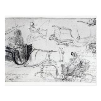 フランシス島の通り、ロンドン1835年の子馬そしてトラップ ポストカード