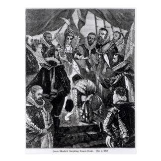 フランシス・ドレークをナイト爵に叙しているエリザベス女王一世 ポストカード