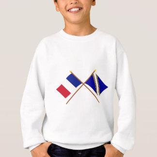 フランスおよびシャンペンArdenneの交差させた旗 スウェットシャツ