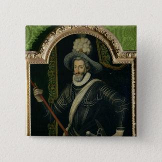 フランスおよびナバール、c.1595のアンリーIV王 5.1cm 正方形バッジ