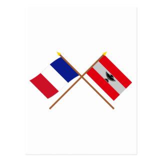 フランスおよびニューカレドニアの交差させた旗 ポストカード