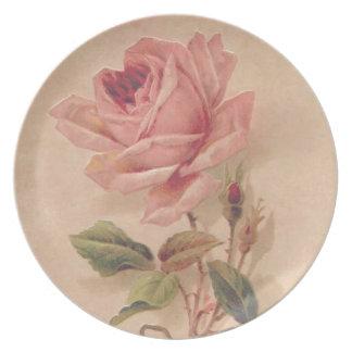 フランスのでビクトリアンなピンクのバラ パーティー皿