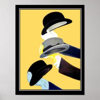 フランスのなアールデコのヴィンテージポスター3帽子 ポスター