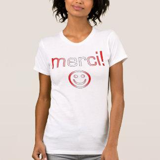フランスのなカナダのギフトはMerciのスマイリーフェイス感謝していしています Tシャツ