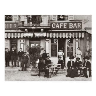フランスのなカフェのバーの通り場面 ポストカード