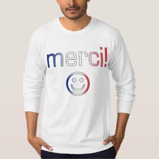 フランスのなギフト: あなた/Merciを感謝していして下さい + スマイリーフェイス Tシャツ