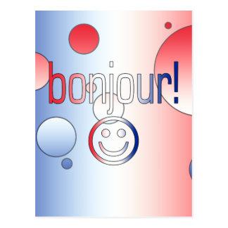 フランスのなギフト: こんにちは/Bonjour + スマイリーフェイス ポストカード