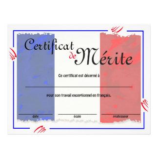 フランスのなクラスの一般的な証明書 チラシ