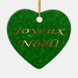 フランスのなクリスマスの金ゴールドの緑のトウヒのハートのオーナメント セラミックオーナメント