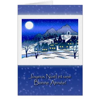 フランスのなクリスマス、Joyeux NoëlのSnowyの村 カード
