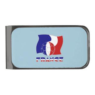 フランスのなサッカーボールおよび旗 ガンメタルマネークリップ