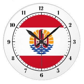 フランスのなポリネシアの旗の時計 ラージ壁時計