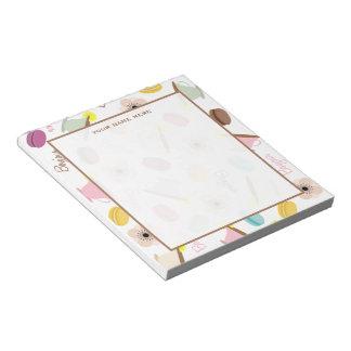 フランスのなマカロンのアネモネ及びティーカップのメモ帳 ノートパッド