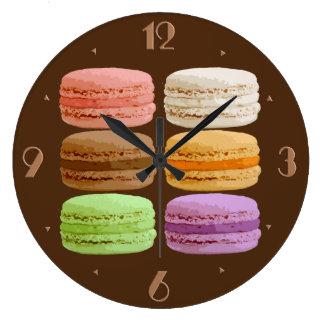 フランスのなマカロン- muti色のパステル ラージ壁時計