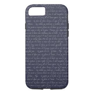 フランスのなレタリング海軍可変性の黒板色 iPhone 8/7ケース