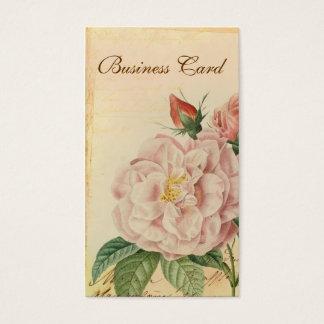 フランスのなヴィンテージのピンクのバラの名刺 名刺