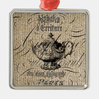 フランスのな国のバーラップはティーポットのお茶会の台本を書きます メタルオーナメント