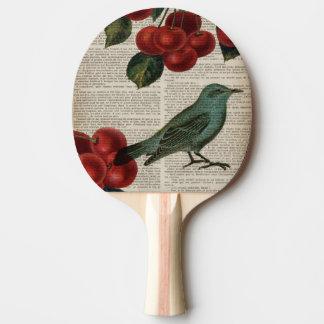 フランスのな国の鳥のレトロの植物の赤いさくらんぼ 卓球ラケット