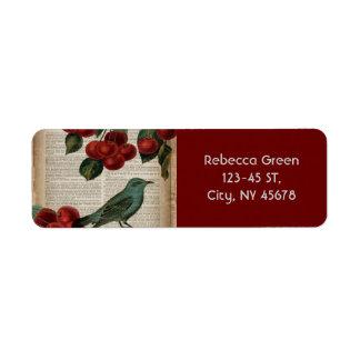 フランスのな国の鳥のレトロの植物の赤いさくらんぼ 返信用宛名ラベル