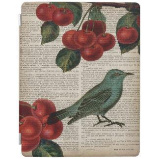 フランスのな国の鳥のレトロの植物の赤いさくらんぼ iPadスマートカバー