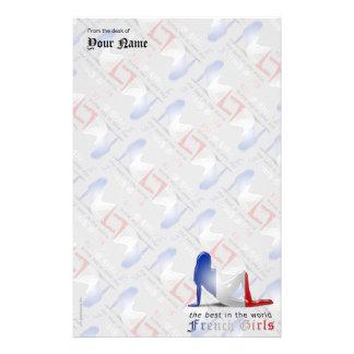 フランスのな女の子のシルエットの旗 便箋