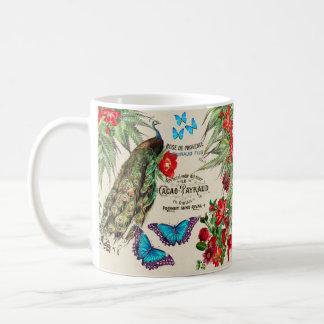 フランスのな孔雀の鳥のバラの花のカカオのマグ コーヒーマグカップ
