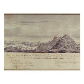 フランスのな捕獲グレナダ1779年 ポストカード