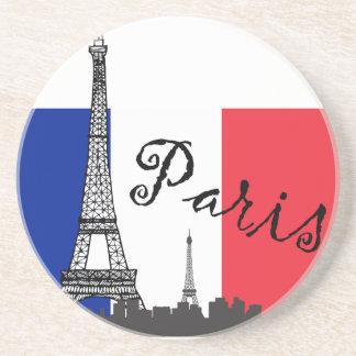 フランスのな旗およびエッフェル塔 コースター