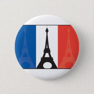 フランスのな旗およびエッフェル塔 缶バッジ