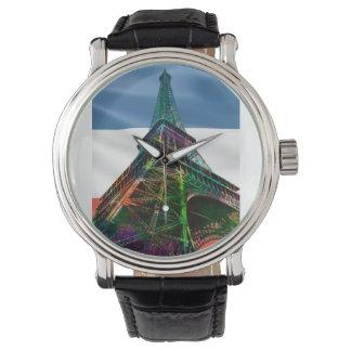 フランスのな旗が付いているエッフェル塔- 腕時計