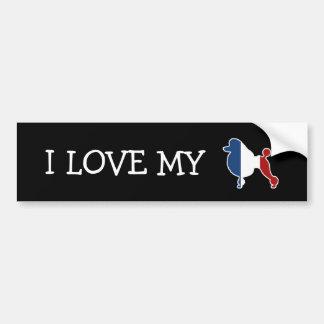 フランスのな旗の標準プードル犬の品種 バンパーステッカー