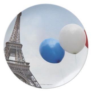 フランスのな旗の色の気球 プレート