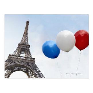 フランスのな旗の色の気球 ポストカード