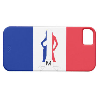 フランスのな旗及び女の子のモノグラム iPhone SE/5/5s ケース