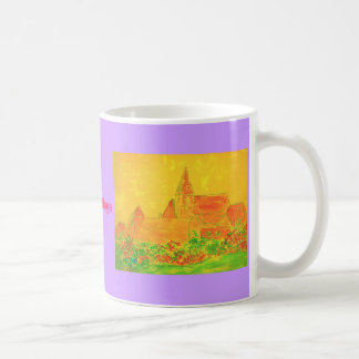 フランスのな村の水彩画のスローガン コーヒーマグカップ