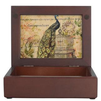 フランスのな植物の芸術のアールヌーボーのヴィンテージの孔雀 ジュエリーボックス