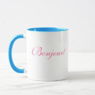 フランスのな水差しおよびバラ、Bonjour! マグカップ