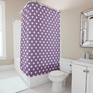 フランスのな薄紫の白いハートパターン シャワーカーテン