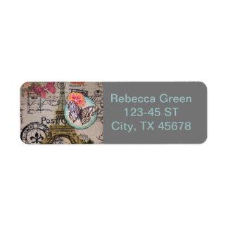 フランスのな蝶モダンなヴィンテージのパリエッフェル塔 ラベル