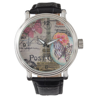 フランスのな蝶モダンなヴィンテージのパリエッフェル塔 腕時計
