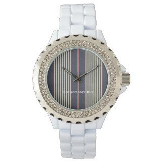 フランスのな赤白青のストライプのカチカチ音をたてる腕時計 腕時計