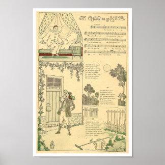 フランスのな音楽スコアの歌のAuのclair de la Lune ポスター