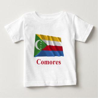 フランスのの名前の旗を振るコモロ ベビーTシャツ