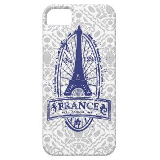 フランスのスタンプ、灰色のダマスク織のiPhone 5のフランスのな芸術 iPhone SE/5/5s ケース